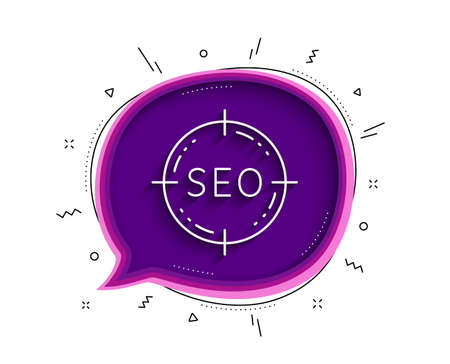 Seo target line icon. Chat bubble with shadow. Search engine optimization sign. Aim symbol. Thin line seo icon. Vector