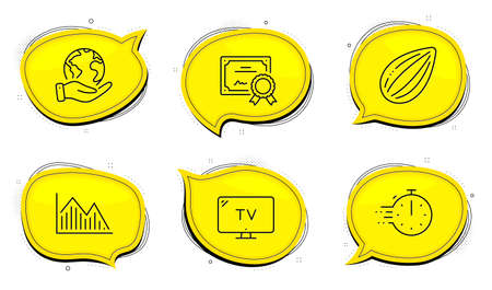 Cooking timer sign. Diploma certificate, save planet chat bubbles. Investment graph, Tv and Almond nut line icons set. Investment infochart, Television, Vegetarian food. Stopwatch. Vector