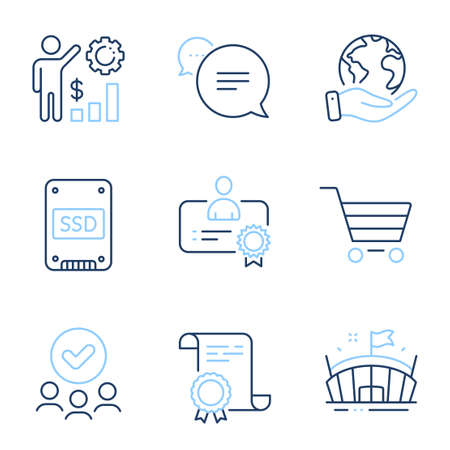 Certificate, Ssd and Text message line icons set. Diploma certificate, save planet, group of people. Arena, Market sale and Employees wealth signs. Vector