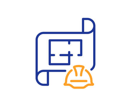Engineering plan line icon. Technical documentation sign. Construction helmet symbol. Colorful thin line outline concept. Linear style engineering plan icon. Editable stroke. Vector