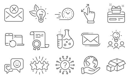 Set of Technology icons, such as Messenger mail, Star. Diploma, ideas, save planet. Eco energy, Fast delivery, Recovery devices. Touchscreen gesture, Smile, Packing boxes. Vector 向量圖像