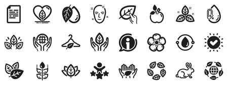 No alcohol free, synthetic fragrance. Organic cosmetics icons. Slow fashion, sustainable textiles icons. Fair trade, eco organic cosmetics. Gluten free, animal testing. Vector Ilustração Vetorial