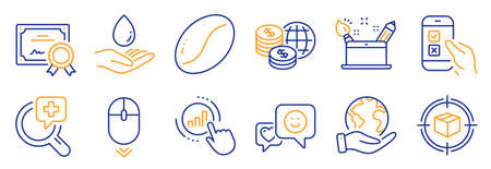 Set of Business icons, such as Medical analyzes, Scroll down. Certificate, save planet. Creativity concept, Water care, World money. Mobile survey, Graph chart, Coffee beans. Vector