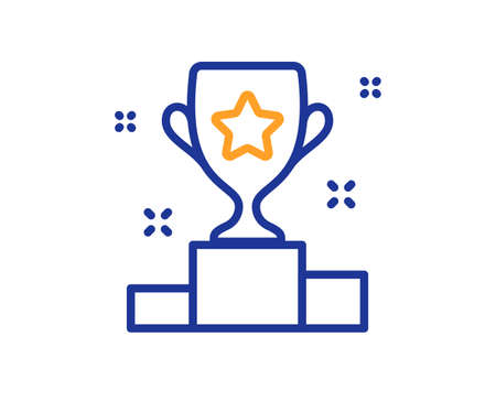 Winner cup line icon. Award trophy sign. Best achievement symbol. Colorful thin line outline concept. Linear style winner cup icon. Editable stroke. Vector