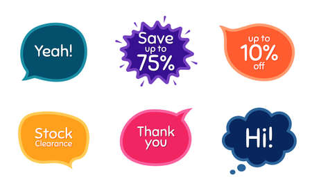 Save 75%, 10% discount and stock clearance. Colorful chat bubbles. Thank you phrase. Sale shopping text. Chat messages with phrases. Texting thought bubbles. Vector