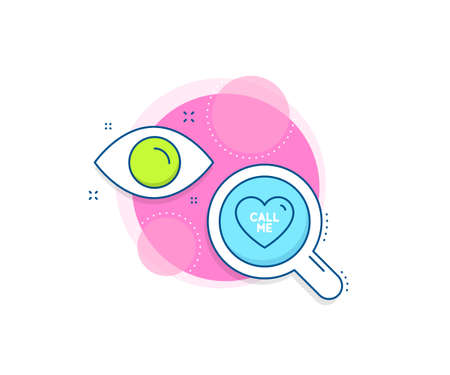 Sweet heart sign. Research complex icon. Call me line icon. Valentine day love symbol. Analytics or analysis banner. Call me sign. Vector