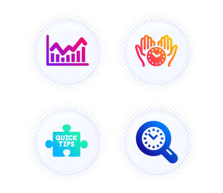 Infochart, Safe time and Quick tips icons simple set. Button with halftone dots. Time management sign. Stock exchange, Hold clock, Tutorials. Science set. Gradient flat infochart icon. Vector Illustration