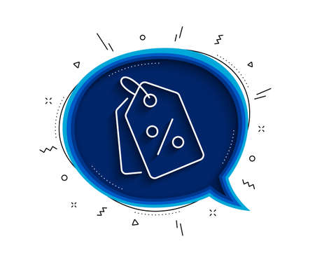 Shopping tags line icon. Chat bubble with shadow. Special offer sign. Discount coupons symbol. Thin line discount tags icon. Vector