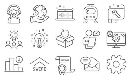 Set of Technology icons, such as Support, Spanner. Diploma, ideas, save planet. Service, New mail, Swipe up. Train, Music making, Decreasing graph. Customer survey, Idea, Return package. Vector
