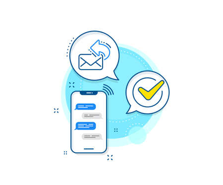 New newsletter sign. Phone messages complex icon. Share mail line icon. Phone E-mail symbol. Messenger chat screen banner. Share mail sign. Vector Foto de archivo - 150312069