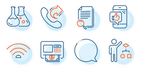 Speech bubble, Chemistry lab and Algorithm signs. Share call, Wifi and Atm line icons set. Mobile like, Search file symbols. Phone support, Wi-fi internet. Technology set. Outline icons set. Vector