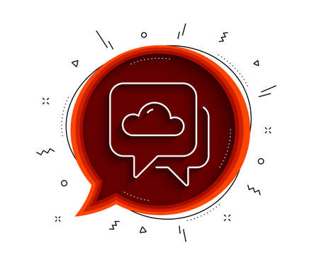 Weather forecast line icon. Chat bubble with shadow. Clouds sign. Cloudy sky symbol. Thin line weather forecast icon. Vector
