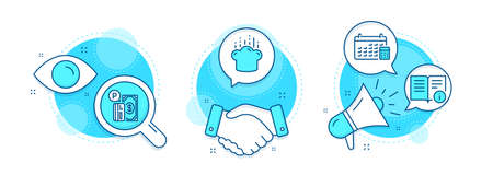 Parking payment, Cooking hat and Calendar line icons set. Handshake deal, research and promotion complex icons. Technical info sign. Paid garage, Chef, Calculator device. Documentation. Vector 向量圖像