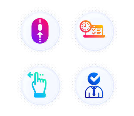 Online test, Swipe up and Touchscreen gesture icons simple set. Button with halftone dots. Vacancy sign. Examination, Scrolling page, Slide left. Businessman concept. Business set. Vector