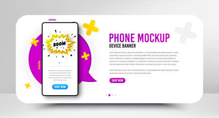 Boom sale badge. Phone screen mockup banner. Discount banner shape. Coupon bubble icon. Social media banner with smartphone screen. Shopping mockup web template. Boom sale promotion. Vector 向量圖像