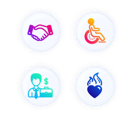 Businessman case, Disability and Employees handshake icons simple set. Button with halftone dots. Heart flame sign. Human resources, Disabled person, Deal hand. Love fire. People set. Vector 向量圖像
