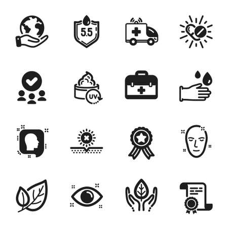 Set of Healthcare icons, such as Medical drugs, First aid. Certificate, approved group, save planet. Health eye, No sun, Health skin. Rubber gloves, Ph neutral, Ambulance car. Vector 向量圖像