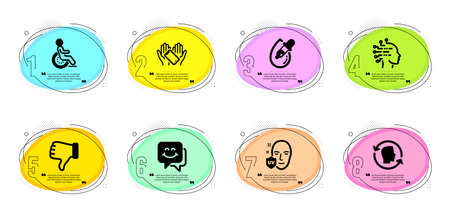 Eye drops, Smile face and Dislike hand signs. Timeline infographic. Disability, Uv protection and Smartphone holding line icons set. Face id, Artificial intelligence symbols. Vector