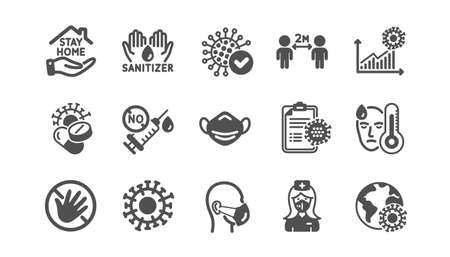 Coronavirus icons set. Medical mask, washing hands hygiene, protective glasses. Covid-19 virus pandemic. Stay home, hands sanitizer, coronavirus epidemic mask icons. No vaccine. Quality set. Vector 向量圖像