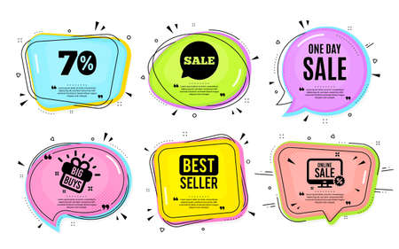 One day Sale. Big buys, online shopping. Special offer price sign. Advertising Discounts symbol. Quotation bubble. Banner badge, texting quote boxes. One day text. Coupon offer. Vector