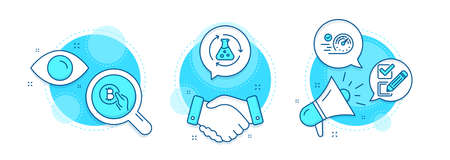Chemistry experiment, Speedometer and Bitcoin pay line icons set. Handshake deal, research and promotion complex icons. Checkbox sign. Laboratory flask, Time concept, Cryptocurrency coin. Vector