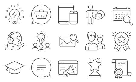 Set of Business icons, such as Seo marketing, Text message. Diploma, ideas, save planet. Search mail, Winner, Shopping cart. Couple, Inspiration, Graduation cap. Vector