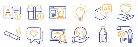 Set of Business icons, such as Add gift, Technical algorithm. Certificate, save planet. Augmented reality, Smoking, Water bottle. Settings blueprint, Heart, Light bulb. Vector