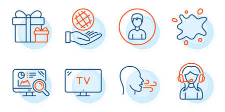 Tv, Safe planet and Support signs. Breathing exercise, Surprise package and Person line icons set. Dirty spot, Seo analytics symbols. Breath, Present boxes. Business set. Outline icons set. Vector Illustration