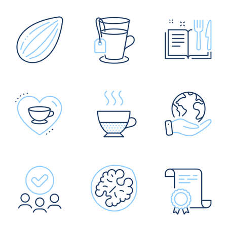 Doppio, Love coffee and Recipe book line icons set. Diploma certificate, save planet, group of people. Almond nut, Tea and Walnut signs. Coffee drink, Cappuccino mug, Food. Vegetarian food. Vector