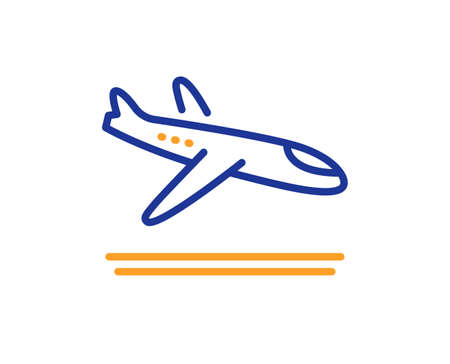 Airport arrivals plane line icon. Airplane landing sign. Flight symbol. Colorful thin line outline concept. Linear style arrivals plane icon. Editable stroke. Vector