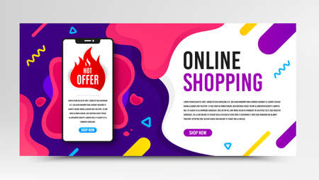 Hot offer badge. Phone screen mockup fluid banner. Discount banner shape. Coupon tag icon. Social media banner with smartphone screen. Shopping mockup web template. Hot offer promotion. Vector 向量圖像