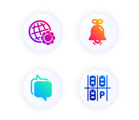 Bell, Messenger and Globe icons simple set. Button with halftone dots. Parking place sign. Alarm signal, Speech bubble, Internet settings. Transport. Business set. Gradient flat bell icon. Vector