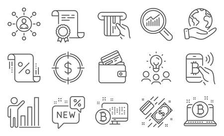 Set of Finance icons, such as Loan percent, Credit card. Diploma, ideas, save planet. Bitcoin, Debit card, Networking. New, Graph chart, Payment. Vector 일러스트