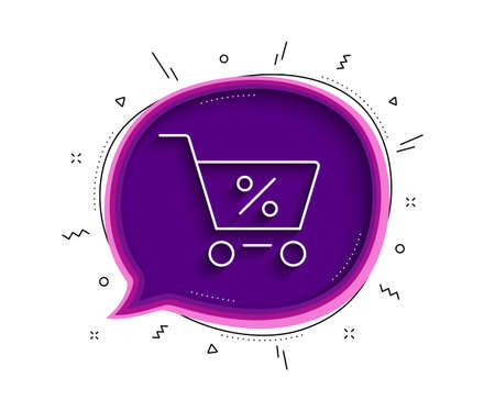 Shopping cart with Percentage line icon. Chat bubble with shadow. Online buying sign. Supermarket basket symbol. Thin line special offer icon. Vector