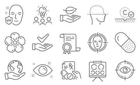 Set of Healthcare icons, such as Natural linen, Dermatologically tested. Diploma, ideas, save planet. Vision board, Eye target, Uv protection. Face detect, Leaf, Capsule pill. Vector