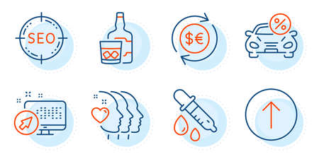 Swipe up, Friends couple and Chemistry pipette signs. Web system, Car leasing and Money currency line icons set. Seo, Whiskey glass symbols. Computer, Transport discount. Business set. Vector Illustration
