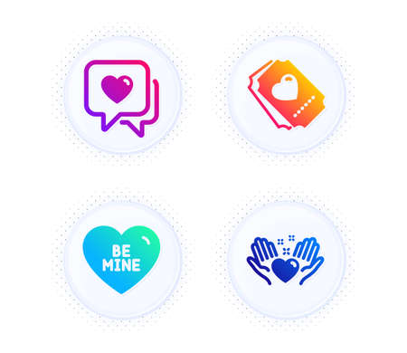 Heart, Be mine and Love ticket icons simple set. Button with halftone dots. Hold heart sign. Love chat, Friendship. Love set. Gradient flat heart icon. Vector