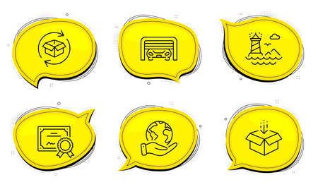 Parking garage sign. Diploma certificate, save planet chat bubbles. Return parcel, Lighthouse and Get box line icons set. Exchange of goods, Navigation beacon, Send package. Automatic door. Vector