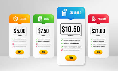 Calculator, Financial documents and Loan percent icons simple set. Price table template. Phone payment sign. Money management, Check docs, Protection shield. Mobile pay. Finance set. Vector
