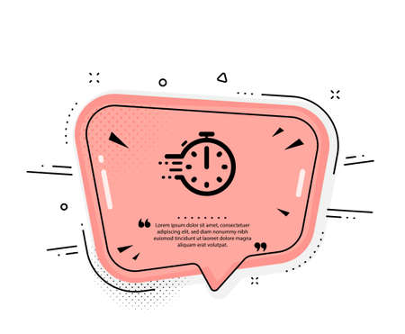 Cooking timer icon. Quote speech bubble. Frying stopwatch sign. Food preparation symbol. Quotation marks. Classic cooking timer icon. Vector