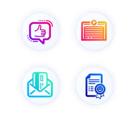 Parking garage, Like and Credit card icons simple set. Button with halftone dots. Smile sign. Automatic door, Thumbs up, Mail. Certificate. Technology set. Gradient flat parking garage icon. Vector Illusztráció