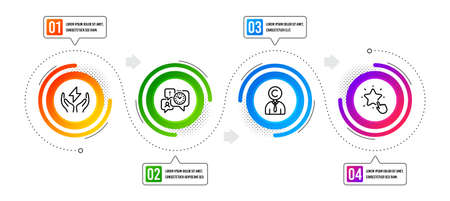 Ranking star, Copyrighter and Time management line icons set. Infographic timeline. Safe energy sign. Click rank, Writer person, Office chat. Thunderbolt. People set. Vector Vettoriali
