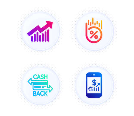 Cashback card, Loan percent and Demand curve icons simple set. Button with halftone dots. Mobile finance sign. Money payment, Discount, Statistical report. Phone accounting. Finance set. Vector Illusztráció