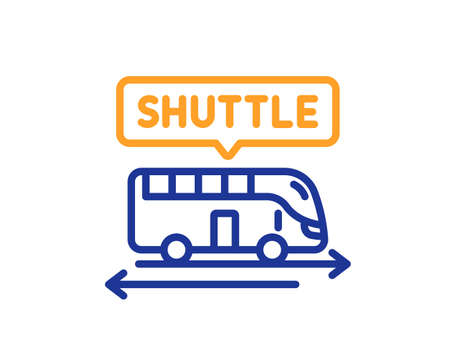 Shuttle bus line icon. Airport transport sign. Transfer service symbol. Colorful thin line outline concept. Linear style shuttle bus icon. Editable stroke. Vector
