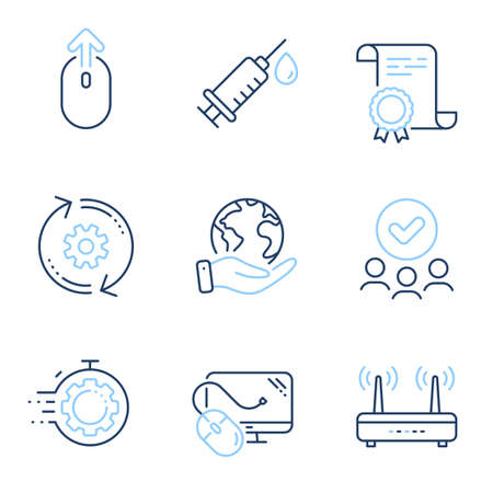 Swipe up, Cogwheel and Wifi line icons set. Diploma certificate, save planet, group of people. Medical syringe, Seo timer and Computer mouse signs. Vector