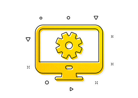 Service Cogwheel sign. Computer or Monitor icon. Personal computer symbol. Yellow circles pattern. Classic monitor settings icon. Geometric elements. Vector Ilustração