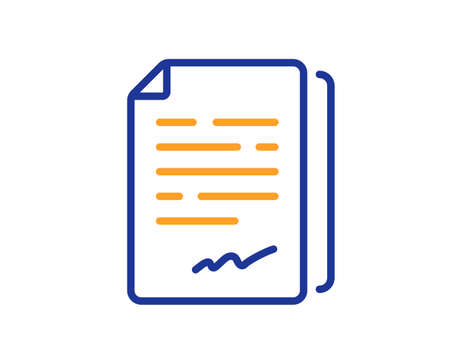 Document signature line icon. Agreement doc file sign. Office note symbol. Colorful thin line outline concept. Linear style document signature icon. Editable stroke. Vector  イラスト・ベクター素材