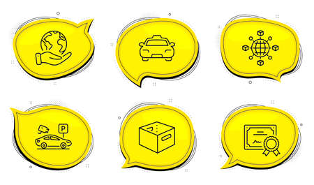 Logistics network sign. Diploma certificate, save planet chat bubbles. Parking security, Taxi and Office box line icons set. Video camera, Passengers transport, Delivery box. Vector Illusztráció