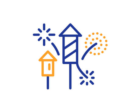 Fireworks rocket line icon. Pyrotechnic salute sign. Carnival celebration lights symbol. Colorful thin line outline concept. Linear style fireworks rocket icon. Editable stroke. Vector