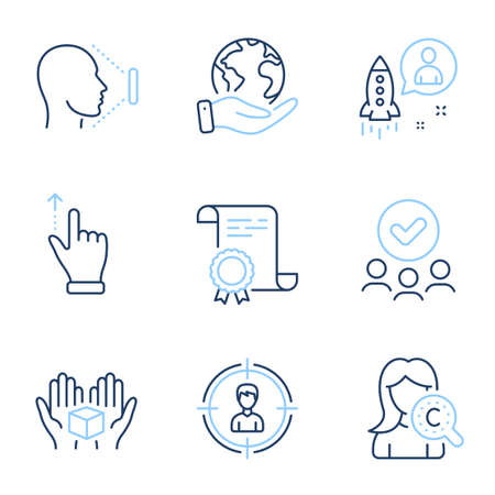 Startup, Collagen skin and Headhunting line icons set. Diploma certificate, save planet, group of people. Touchscreen gesture, Face id and Hold box signs. Vector 向量圖像